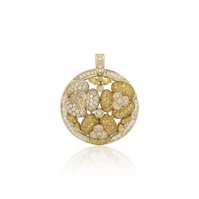 Yellow and White Diamond Floral Pendant